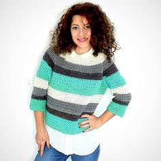The Mint Lollipop Sweater has long magical color changes and a beautiful twisted border. The pattern is available in 5 sizes from small to Design: Catalina Ungureanu Knit Or Crochet, Crochet Hooks, Free Crochet, Beginner Crochet, Diy Crafts Crochet, Labor, Crochet Patterns, Sweater Patterns, Crochet Clothes