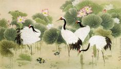 Cranes among Lotus Chinese Style Wall Mural