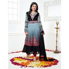 New Greatest Gray Collection Designer Long Anarkali Suit