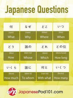 Question words in Japanese. Totally FREE Japanese lessons online at JapanesePod101 - free podcasts, videos, printables, pdfs and more! We recommend Japanese Pod 101 to learn Japanese online. Learn real Japanese, the way it's spoken today. Learn Japanese online as a beginner all the way up to advanced. They have JLPT training too. Sign up for your free lifetime account and see how much you can learn in a week! #japanese #learnjapanese #nihongo #studyjapanes #learnjapaneseforkidslessonplans Free Japanese Lessons, Basic Japanese Words, Japanese Language Lessons, Japanese Language Proficiency Test, Japanese Phrases, Study Japanese, Korean Language, Japanese Culture, Learning Japanese