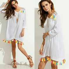 Tassel shift dress. XS-L. Long sleeves shouldn't have to be a summer outfit worry. Available at R360. Please note waiting period 3-4 weeks. Watsapp or email to order
