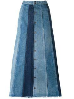 Saint Laurent patchwork denim long skirt