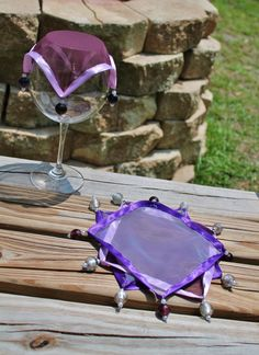 Wine Glass Covers / Purple and Violet Sheer with by AczarsDesign