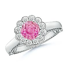 Angara Pink Sapphire and Diamond Trillium Petal Flower Ring yg8iJD2q