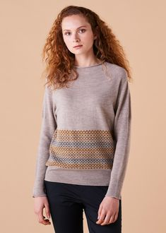 Isla Jumper Merino Wool - Wheat This season's feature jumper has a relaxed yolk neckline and dolman rib sleeves. A band of Fairisle pattern adorning the lower part of jumper adds statement appeal. Designed and made in Melbourne, Australia. Fair Isle Pattern, Melbourne Australia, Merino Wool, Jumper, How To Make, How To Wear, Women Wear, Neckline, Pullover