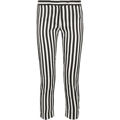 Ann Demeulemeester Cropped striped satin-twill slim-leg pants ($545) ❤ liked on Polyvore featuring pants, capris, striped pants, twill zipper pants, loose fitting pants, white trousers and cropped pants