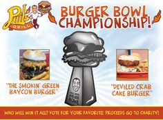The Road To The Burger Bowl Championship is here with our Final Two contenders! The Smokin' Green Baycon Burger vs. The Deviled Crab Cake Burger! Who will it be fans?