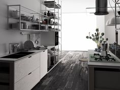 Multi-layer wood fitted kitchen MECCANICA by VALCUCINE | design Gabriele Centazzo
