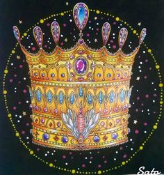 The Crown  #hannakarlzon #summernights #sommarnatt #adultcoloring #coloringbook #livrodecolorir #crown #divasdasartes #arte_e_colorir #arte #artwork #colorindolivrostop #prazeremcolorir #amazing #beautiful #colortherapy #arttherapy #colorful #målarbok #inlove #instaart #instagood