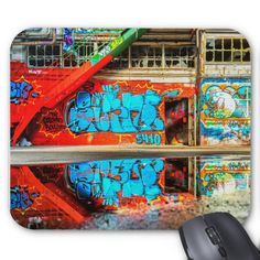 Abandoned Building Graffiti Red Stairs Mouse Pad Custom Office Retirement #office #retirement