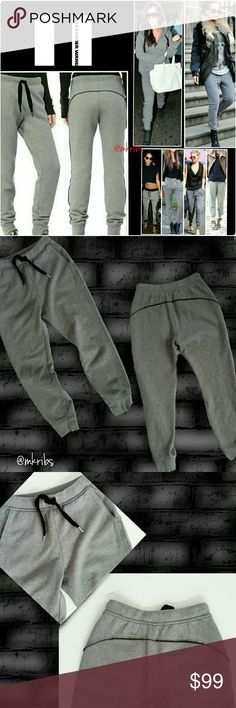 ⤵Sale⤵ T by Alexander Wang sweatpant joggers SALE!!! Because sweatpants aren't just for the gym anymore.  Brushed grey wool fleece sweatpants with contrasting black interior. Raw edgehems. Black piping flatters the rear. Elasticized waistband with velvet ties.  Pockets. Ribbed, tight ankle cuffs perfect for wear with boots or high heels. Dress them up for a fashion forward edge or throw on a hoodie and relax in the most luxurious sweatpant you have ever worn. The brushed wool is oh so soft…
