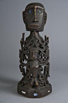 Ancestor Figure (Korwar) 19th century Wood with glass beads 36.5 x 16 x 15 cm (14 3/8 x 6 5/16 x 5 7/8 in.) Lent by Thomas Jaffe, B.A. 1971 TR2013.15567.28 Yale University Art Gallery