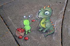 David Zinn Street Art News, Murals Street Art, 3d Street Art, Street Art Graffiti, Street Artists, Graffiti Artists, David Zinn, Chalk Pictures, Urbane Kunst