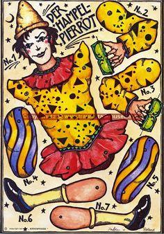 Pierrot mit Ziehharmonika Hampelmann Ziehfigur Bastelbogen mit Klammern und Schnur