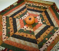 Fall Autumn Table Topper Hexagonal Quilted by atthebrightspot