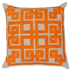Check out this item at One Kings Lane! Geo 18x18 Embroidered Pillow, Orange