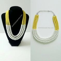 Hey, I found this really awesome Etsy listing at https://www.etsy.com/listing/263578749/yellow-statement-necklace-white