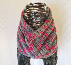 Pink and Grey Chunky Womens Cowl Neck Warmer Hand by AlidaAccents