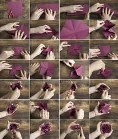 Origami Carambola Flowers by Carmen Sprung Aren't they just beautiful? Find out how to fold these origami flowers from a single sheet of paper, no glue needed! Origami Carambola Flowers -link to video tutorial by Carmen Sprung, long but includes how to fo Origami Rose, Diy Origami, Origami And Kirigami, Origami Paper Art, Origami Tutorial, Diy Paper, Paper Crafts, Diy Crafts, Oragami