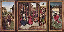 Dirk Bouts : La Perle du Brabant, v. 1470, Alte Pinakothek -  Chez BOuts Thierry, l'étirement des figures, l'acuité du dessin, une certaine raideur hiératique caractérisent son oeuvre qui baigne dans une athmosphère de concentration religieuse et de grandeur tragique.