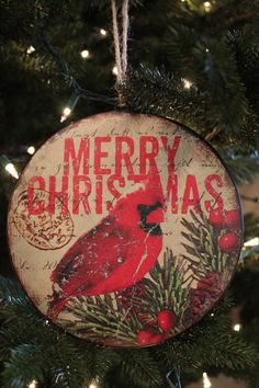 """8"""" Merry Christmas Tin Disc, makes a great gift for that hard to buy for.  Exclusivelychristmas"""