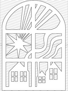 Houses through the window Christmas Stencils, Christmas Paper, Handmade Christmas, Christmas Crafts, Kirigami, Windows Color, Rena, Wood Carving Patterns, Cardboard Paper