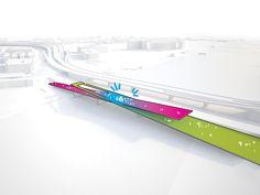 OMA ontwerpt 'parkbrug' Washington DC - de x is sterk. Verschillende stromen komen samen in het middelpunt.