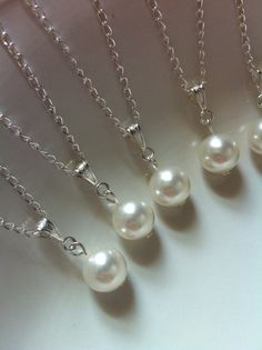 RESERVED 8 Bridesmaid Pearl Pendant Necklaces 2 by AnaInspirations, $83.00