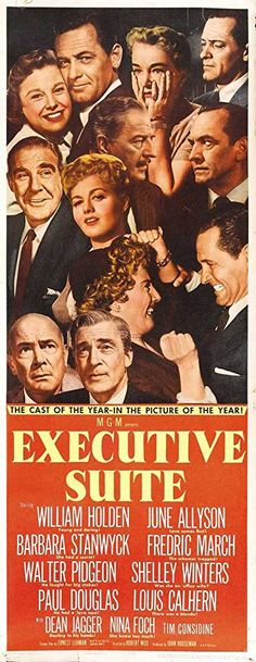 William Holden, June Allyson, Nina Foch, Barbara Stanwyck, Shelley Winters, Paul Douglas, Louis Calhern, Dean Jagger, Fredric March, and Walter Pidgeon in Executive Suite (1954)