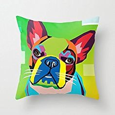 Abstract French Bulldog Throw Pillow Case 16 X 16 Inches cushion cover