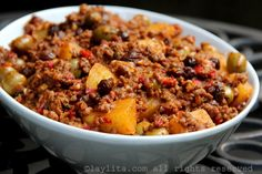 Ground beef picadillo with potatoes