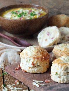 Crispy bits of bacon, grated mature Cheddar cheese, finely chopped spring onion, soured cream and some red chilli make these savoury scones a perfect accompaniment to corn chowder.