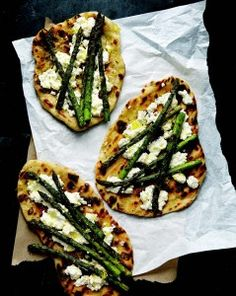 Grilled Asparagus and Ricotta Pizzas (Martha Stewart): use olive oil-flavored nonstick spray for grill and on pizza base (or measure olive oil used -- count oil if you, use > 2 tsp. healthy oil per day), omit flour, instead of pizza dough use light Flatouts or other PF light bread, use FF ricotta cheese (or RF & count); may also make in oven