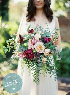 Brianna floral Photography : Kate Ignatowski | Wedding Dress : Alexandra Grecco | Floral Design : Photosynthesis Read More on SMP: http://www.stylemepretty.com/2015/10/03/bouquet-breakdown-rustic-tuckahoe-plantation-wedding-inspiration/