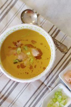 Carrot Ginger Soup topped with scallions and pickled ginger   www.blossomtostem.net   #carrot #ginger #soup #coconutmilk #sesameoil #scallions #pickledginger #glutenfree #vegetarian #vegan