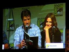 Nathan Fillion (Rick Castle) and Stana Katic (Kate Beckett) give a dramatic reading from 'Heat Wave'.