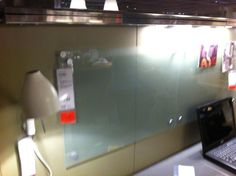 """frosted glass """"white boards"""" $20 each at Ikea"""