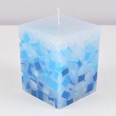 Vela Quadrada Mosaico BLUE 8x8x10cm Azul