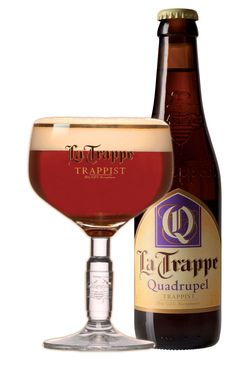 La Trappe Quadrupel Ale.  Quadrupel is La Trappe's heaviest ale with a stunning amber colour. Its warm and intense flavour is rich and finely balanced. Malty sweet, slightly burnt, and pleasantly bitter with a sweet aftertaste. Quadrupel continues to ferment after bottling and offers aromas of banana, almond, vanilla and others