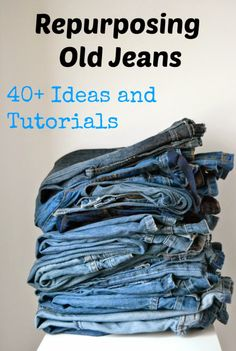 Repurposing Old Jeans: 40 Ideas and Tutorials - Sara @ Made by Sara - Guest Post - Serger Pepper If you're like me, you have a huge (and growing) pile of denim trousers. Today Sara @ MadeBySara is sharing repurposing old jeans ideas… Repurposing Old Jea Sewing Hacks, Sewing Tutorials, Sewing Crafts, Sewing Patterns, Sewing Tips, Clothing Refashion Tutorials, Sewing Ideas, Denim Bag Patterns, Jeans Refashion