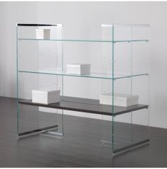 Double-sided Central Composition In Extra-clear Glass With Shelves on Home Shelves Ideas 8023 Open Bookcase, Bottle Display, Glass Shelves, Kitchen Lighting, Clear Glass, Design, Home Decor, Ideas, Cabinets
