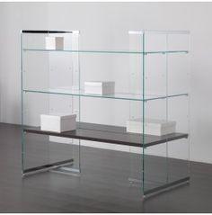 COMP/35 Composizione centrale bifacciale in vetro extrachiaro con mensole