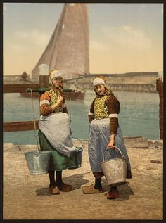 vintage photochrom; Dutch Girls in Traditional Costume