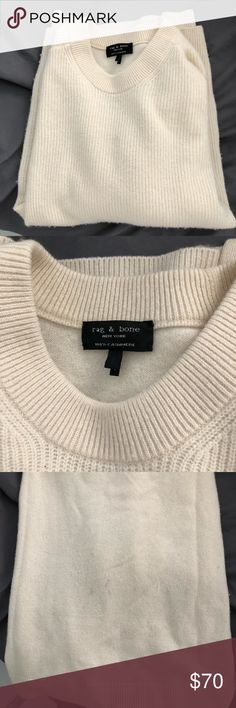 Rag and Bone Cashmere Sweater Super soft 100% cashmere crew neck sweater from Rag and Bone. Lightly worn, small pilling but can be easily removed with a razor. Also small spot (maybe?) on front - it's barely noticeable. Size XS. rag & bone Sweaters Crew & Scoop Necks