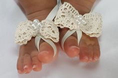Beige Barefoot Sandal Baby Barefoot Sandal Baby by AllBabyGirls
