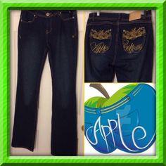 "[Apple Bottoms] Picked Fresh Daily Jeans Blue.  Gold stitching.  Apple Bottoms Picked Fresh Daily straight leg jeans. Inseam 34"". Size 9/10. Apple Bottoms Jeans Straight Leg"