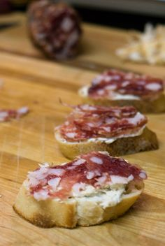 Crostini with Herbed Cream Cheese and Salami » Cooking by the seat of our pants