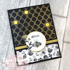 2 Card Designing Tips - Stampin Up Honey Bee Today I have two card designing tips to share with you featuring the Stampin Up Honey Bee. Learn about the reverse card design and adding pops of color. Bee Cards, Cards Diy, Fun Fold Cards, Bee Theme, Stamping Up Cards, Bee Happy, Animal Cards, Paper Cards, Greeting Cards Handmade