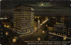 Music, Arts & Literature — Bird's-eye view of Woodward Avenue at night....