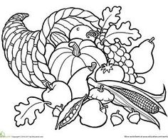 Thanksgiving Coloring Pages (Free Thanksgiving Worksheets And Printables  For Kids). Cornucopia Printable Coloring Page